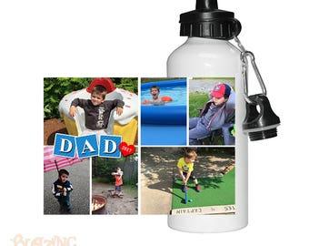 Personalized Custom Dad Block Photo Water Bottle