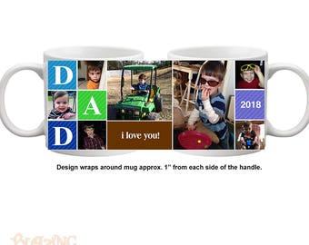 Personalized Dad/ Daddy Block Photo Coffee Mug