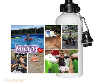 Personalized Custom Mom Block Photo Water Bottle