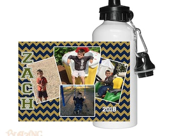 Personalized Custom Text OR Name Chevron Photo Water Bottle