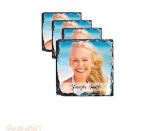 Personalized Photo Square Slate Coaster Set