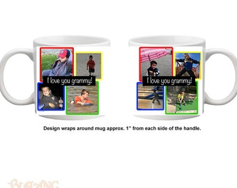 Personalized Four Color Photo Collage Mug