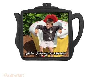 Personalized Black Iron Photo Teapot Trivet