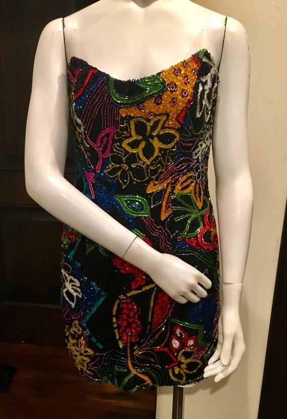Bob Mackie Beaded Cocktail Dress