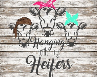 Original Hanging with my Heifers SVG Simple Cut Cows with Bandanas