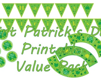 St. Patrick's Day Party Printable, St. Patricks Day Decor, St Patty's Party Banner, St Patricks Party Signs, Printable Instant download.