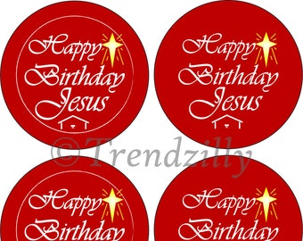 "Bottlecap Happy Birthday Jesus Printable 1.313"", Happy Birthday Jesus pinback Button Image, Christmas Printable Download, Christmas Graphic."