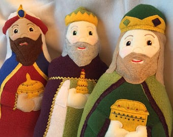 Wise Men Soft Saint Doll Set of 3, Three Kings, The Three Wise Men, Nativiy, Christmas Story Dolls.