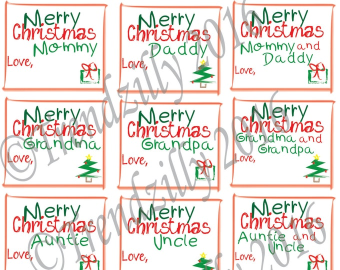 Christmas Gift Tags, Kid Gift Tags, Christmas Gift Tags for Kids, Christmas Gift Label, Childrens Christmas Decoration Printable Download.