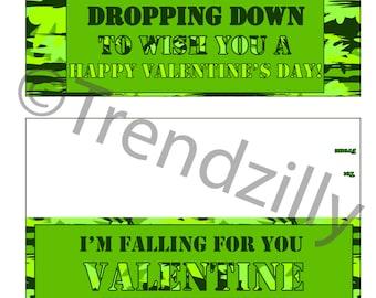 Paratrooper Bag Topper Valentine, Valentine's Day, Boy Valentines, Kids Valentine, Army Man, Camo Valentines, Printable Instant Download.