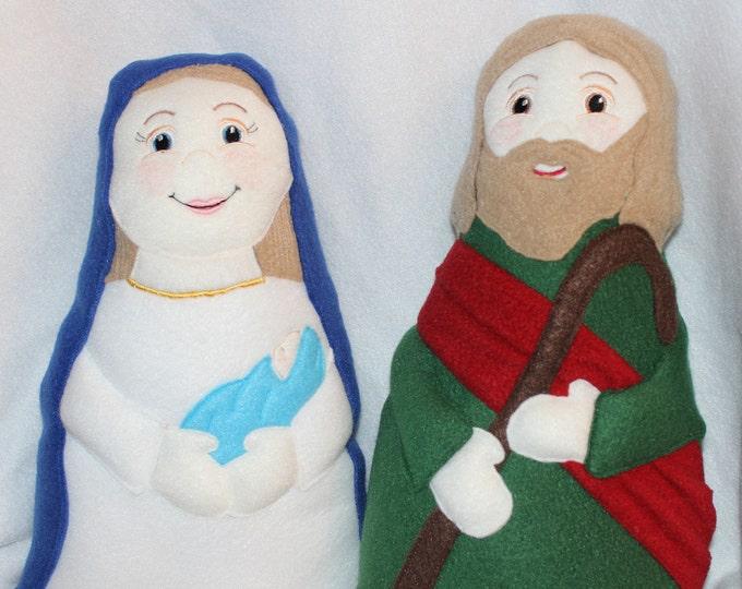 Holy Family Soft Saint Doll Set, Set of 2, Mary with Baby Jesus and St Joseph, Nativity Dolls, Jesuse, Mary, Joseph, Christmas Story Dolls.