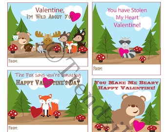 Kids Printable Valentine, Forest Animal Valentines, Forest Creatures Valentine Cards, Bear, Racoon, Owl, Deer, Valentine's Day, printable.