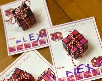 Kids Printable Valentines, Rubix Valentines, Kids Valentine, Puzzle Valentines, Cube Valentine, Instant Download. Set of 5