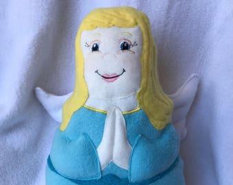 Guardian Angel Soft Saint Doll Blond, Blues eyes with Blue Dress, Catholic Saint Doll, Angel Doll, My Guardian Angel,