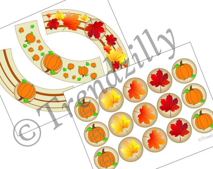 Fall Cupcake Toppers and Wrappers, Thanksgiving Cupcake Decorations, Oktoberfest Pumpkins and Fall Leaves Printable, Fall Instant download.