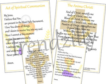 Spiritual Communion & Anima Christi Prayer Cards, Holy Cards, Prayer Teaching Tool, Printable Download.