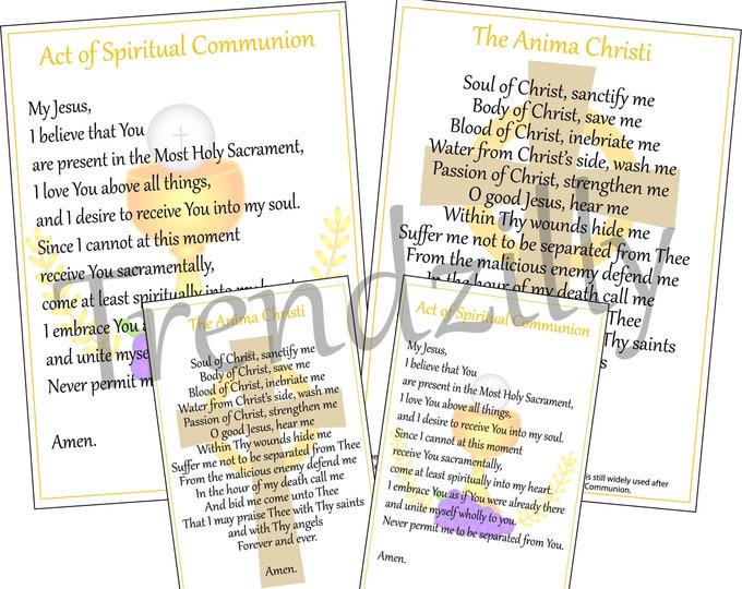 Spiritual Communion & Anima Christi Prayer Cards, Holy Cards, Prayer Teaching Tool, Printable Download.