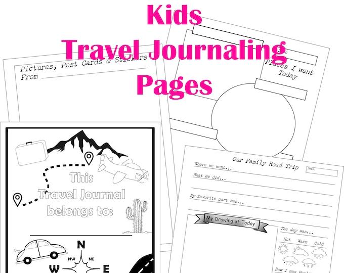 Kids Travel Journal, Travel Journal Printable, Vacation Journal, Travel Coloring Book, Kids Road Trip, Journal Printable Download