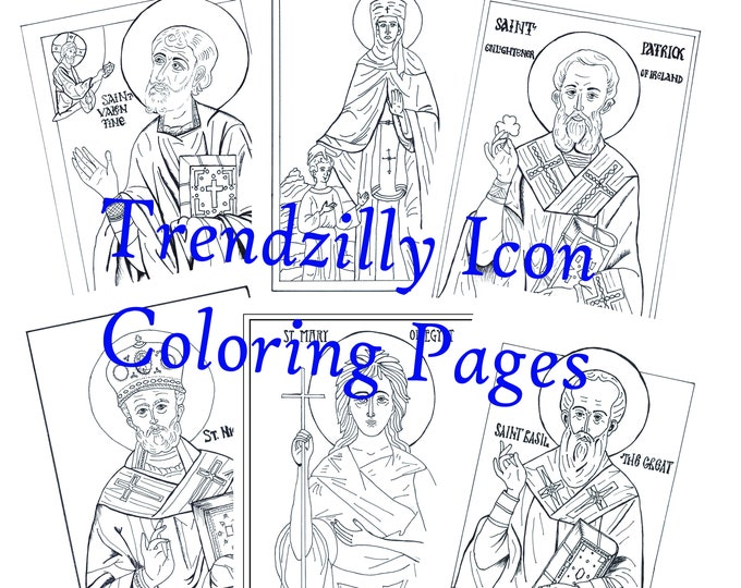 Icon Coloring Pages, Saint Coloring Pages, Kids Coloring Book, Feast Day Coloring Pages, Coloring Book, Set of 6 Icons, Printable Download.