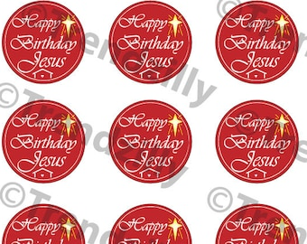"Happy Birthday Jesus Cupcake Topper2"", Happy Birthday Jesus Gift Tags, Stickers, Christmas Decoration Printable Download, Christmas Graphic."