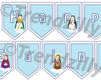 All Saints' Day Banner, Soft Saint Banner, Printable All Saints Day Banner, All Saints Day Printables, Feast Day Instant download.