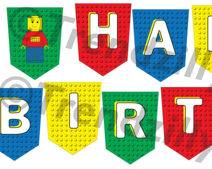 Building Block Birthday Banner, Party Banner,  Interlocking Banner Printable Instant download, Happy Birthday Banner.