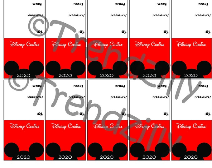 2020 Mickey Inspired Mini Candy Bar Tag Topper Wrappers, Cruise Bag Topper, Fish Extender gift, Instant Download