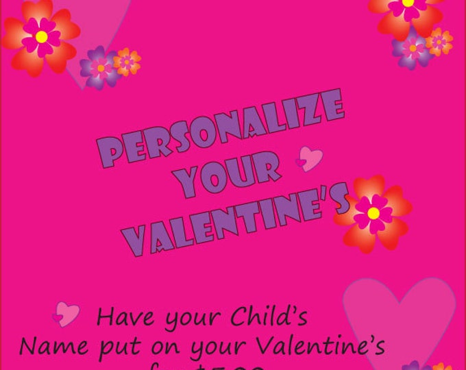 Personalized Printable Valentine, Kids Valentines, Instant Download, Personalized, Valentine's Day.