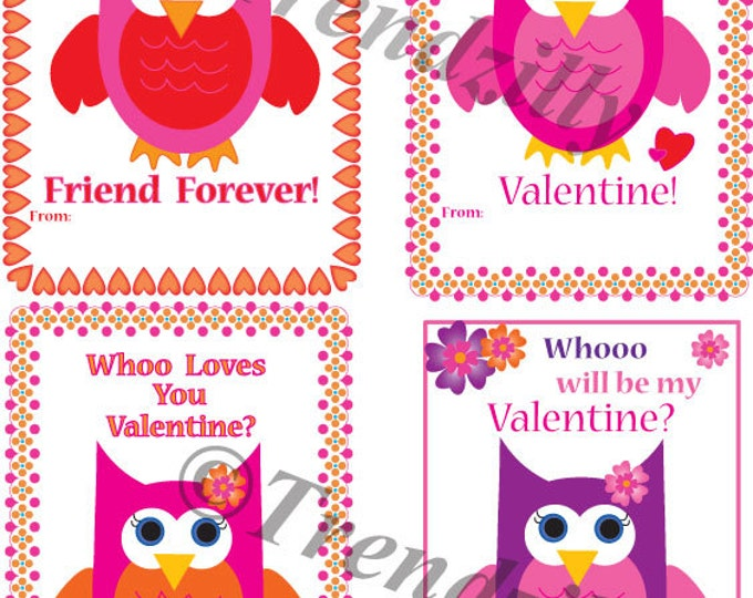 Owl Valentine, Printable Kids Valentine Cards, Valentines Day Card, Valentine's Day, Girl Valentines, Instant Download (Set of 4)