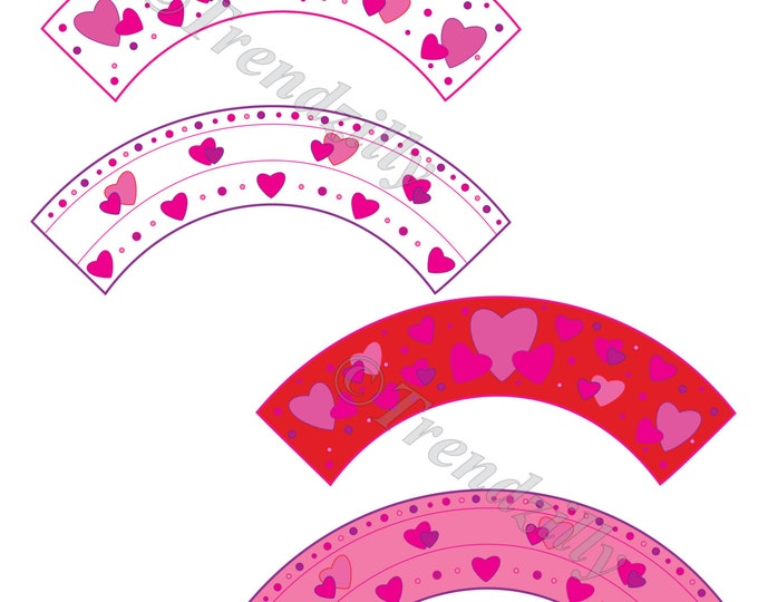 Valentine Cupcake Wrapper, Heart Valentine's Cupcake, Valentine's Day Party Decor, Printable Valentine Cupcake Wrapper Instant Download.