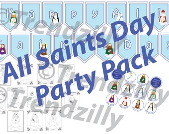 All Saints' Day Party Pack, Soft Saint Banner, Cupcake Toppers, Wrappers, Coloring Pages, All Saints Printables, Feast Day Instant download.