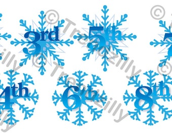 Snowflake Frozen Birthday Banner Number Add-On, Snowflake Party, Winter Birthday, Printable Instant download.  Includes the numbers 1-9