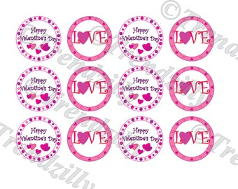 Valentine Cupcake Topper, Heart Cupcake Topper, Valentine's Day Party Decor, Love Topper, Sticker, Gift Tag, Printable Instant Download.