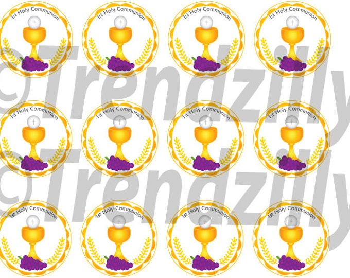 1st Communion Cupcake Toppers, First Communion, 1st Communion Party Decor, Cupcake Topper in Gold, First Holy Communion, Printable download.