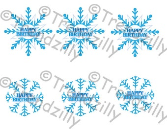 Frozen Inspired Cupcake toppers, Snowflake Toppers, Winter Cupcake Toppers, Snowflake Birthday Party, Printable Instant download.