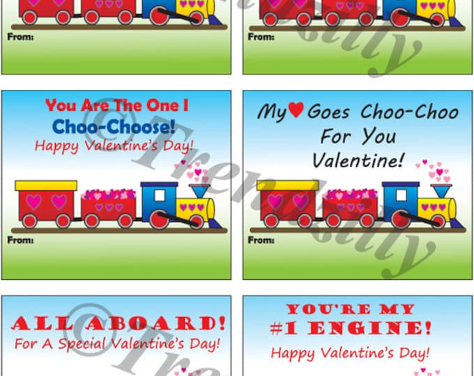 Kids Printable Valentines, Boy Valentines, Kids Valentine, Train Valentines, Choo Choo Train, Instant Download. Set of 6