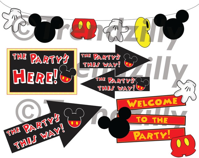 Mickey Mouse inspired Birthday Party Signs, Birthday Garland,  Mickey Mouse Party Signs Printable Instant download, Happy Birthday Banner.
