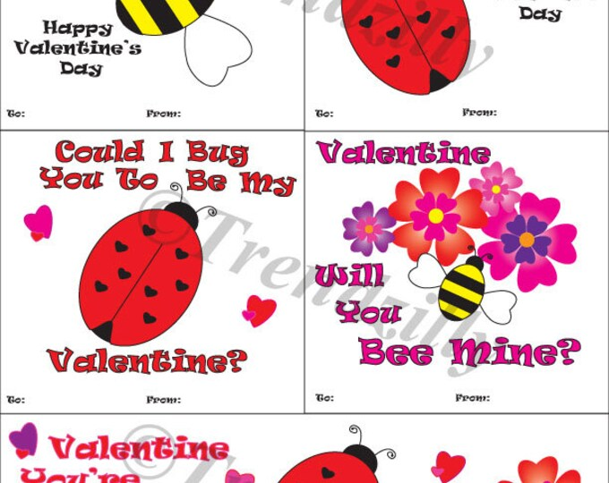 Honey Bee Valentine's, Lady Bug Valentine, Kids Valentines, Valentine's Day, Printable Instant Download, Personalized (Set of 5)