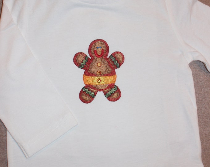 Embroidered Gingerbread Man Shirt. Size 12 months
