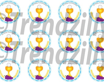 1st Communion Cupcake Toppers, Boy First Communion, 1st Communion Party Decor, Cupcake Topper, First Holy Communion, Printable download.