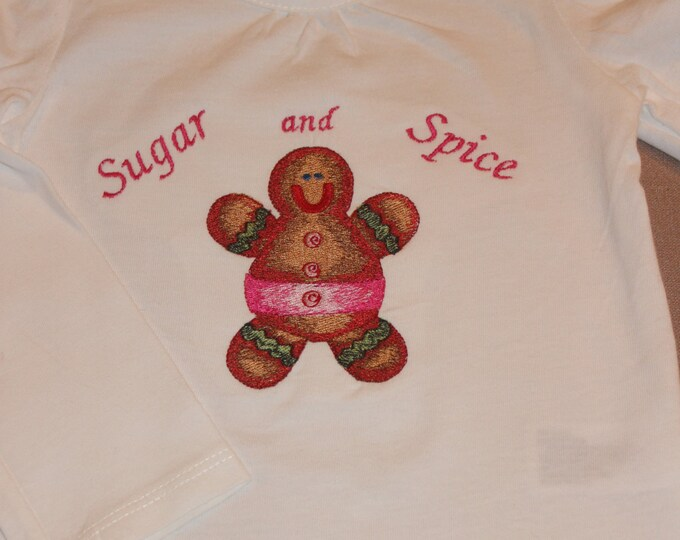 Sugar and Spice Embroidered Gingerbread Man Shirt. Size 12 months