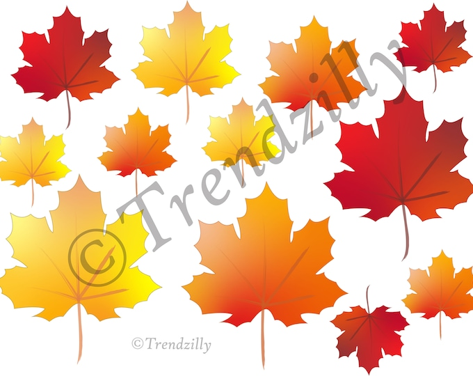Fall Leaf Printable, Thanksgiving Decorations, Oktoberfest Pumpkins and Fall Leaves Printable, Stickers, Fall Instant download.