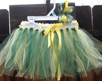 Oregon Ducks Tutu, Green and Yellow tutu, Team tutu, fits size 18mon-2t