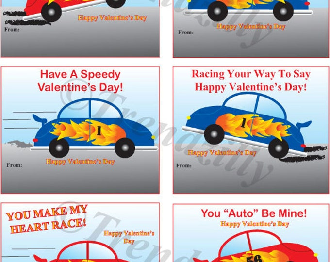 Printable Valentines, Race Car Valentines, Valentine's Day, Boy Valentines, Valenitne's Day Card. Personalizable Instant Download.