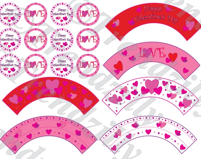 Valentine Cupcake Wrapper and Toppers, Heart Valentine's Stickers and Tags, Valentine's Day Party Decor, Printable Cupcake Wrapper Download.