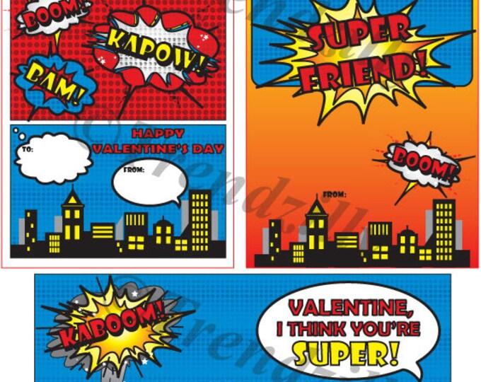Kids Printable Valentine, Superhero Valentine, Comic Book Valentine, Boy Valentines, Valentine's Day, printable Download (Set of 3)