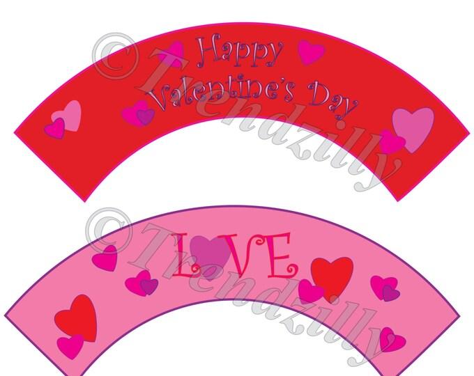 Happy Valentine's Cupcake Wrapper, Love Cupcake Wrapper, Valentine's Day Party Decor, Printable Valentine Cupcake Wrapper Instant Download.