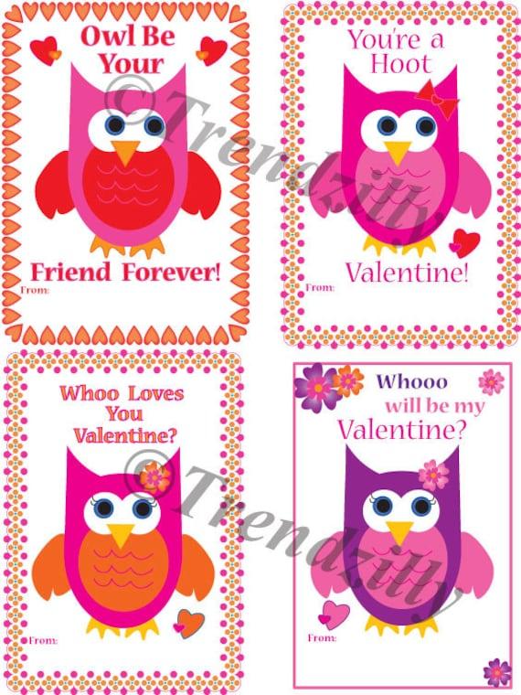 Owl Valentine Printable Kids Valentine Cards Valentines Day Etsy