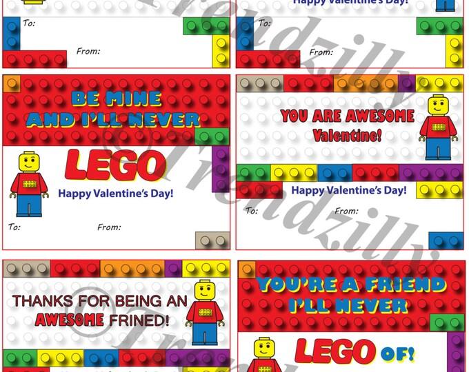 Building Brick Valentines, Valentine's Day, Kid Valentines, Interlocking Building Block Valentines, Printable Instant Download.