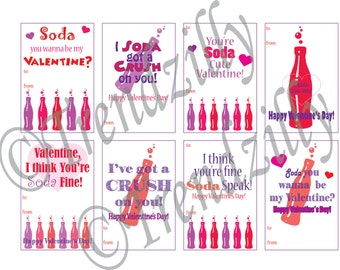 Kids Printable Valentine, Mini Soda Can Valentines, I Soda got a Crush on yov, You're Soda Fine, Valentine's Day, printable Download